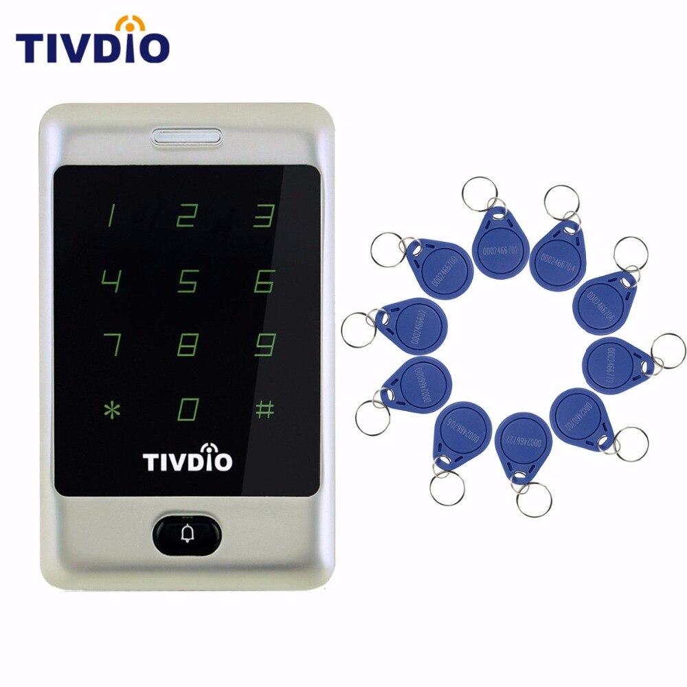 TIVDIO Standalone Touch Keypad Proximity For RFID 125KHz Backlight Keypad Access Control +10pcs ID Token Tag Key Keyfob F9503D<br>