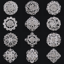 Wholesale 12 Pieces Mixed Crystal Rhinestones Small Flower Brooch Pins for Women or DIY Wedding Decoration Accessories