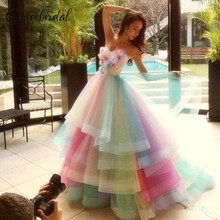 Colorful Rainbow Ombre Junior Quinceanera Drsses 2017 Tiered Tulle Ball Gown Formal Party Prom Dresses Sweet 16 Evening Dresses