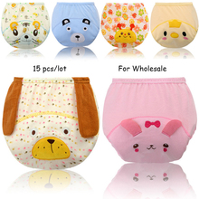 15 pcs/lot New Cartoon Baby Training Pants Diaper Potty Toddler Panties New Underwear Reusable Cotton Training Panties Diapers(China)