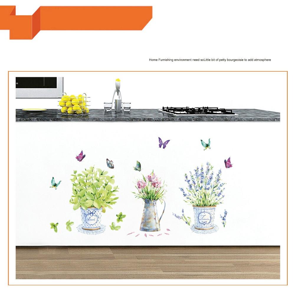 HTB1yXemdlUSMeJjSszbq6zerFXa7 - DIY wall stickers home decor potted flower pot butterfly kitchen window glass