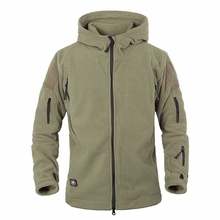 US Military Man Fleece Tactical Jacket Thermal Breathable Polar Hooded Coat Casual Outerwear Army Clothes