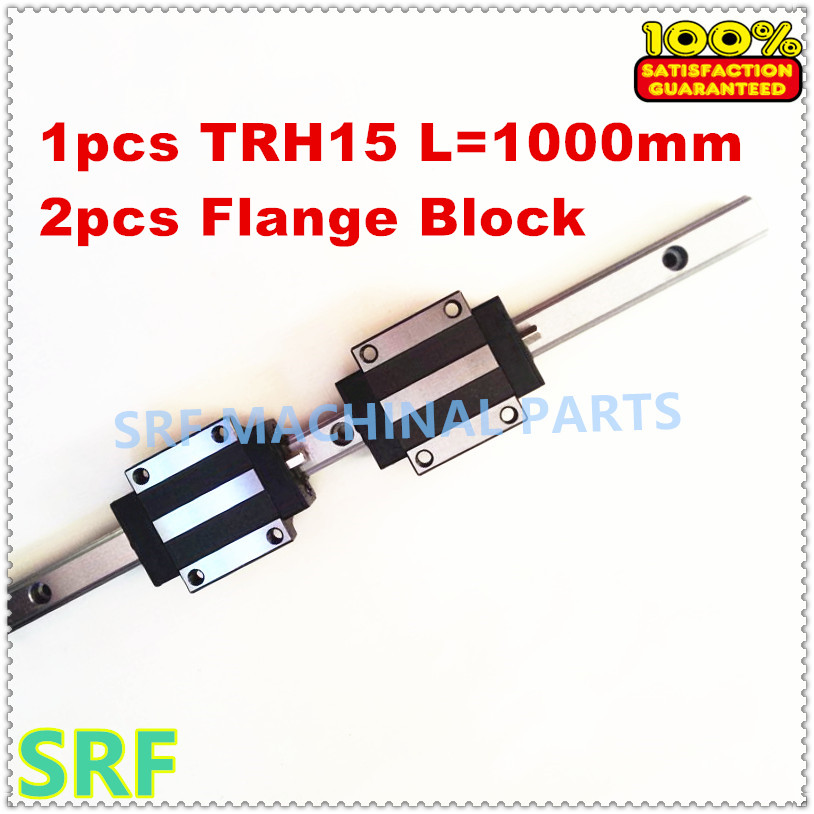 100% Brand New 1pcs  Linear Guide Rail  TRH15  L=1000mm 15mm width with 2pcs TRH15A Linear Rail Flange  block for cnc<br>