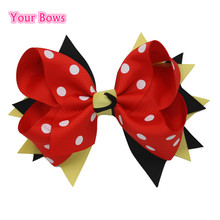 Your Bows 1PC 5 Inches Kids Hair Bows Yellow/Black/Red Polka Dot Ribbon Bows Hair Clips Cute Hairpin For Girls Hair Accessories