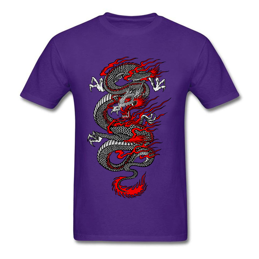 Asian Dragon 100% Cotton Tops T Shirt for Men Printed T-shirts Summer New Coming O-Neck T Shirt Short Sleeve Free Shipping Asian Dragon purple
