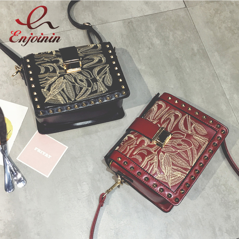 Personalized fashion embroidery rivets black &amp; red pu leather flap ladies shoulder bag purse crossbody mini messenger bag<br>