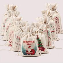 9 Styles Christmas Large Canvas Monogrammable Santa Claus Drawstring Bag With Reindeers, Monogramable Christmas Gifts Sack Bags
