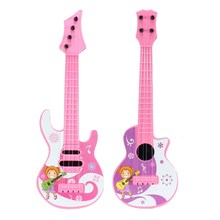 Fashion Cartoon Design Plastic Guitar Toy Mini Musical Instrument Educatonal Toys For Baby Children kids Musical Toy Guitar Gift(China)