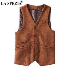 LA SPEZIA de cuero Artificial Chaleco de los hombres de gamuza marrón tela  chaleco primavera hombre Slim Fit traje chaleco sin m. 8a7d40e4b05d
