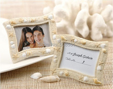 Free Shipping Wholesale Beach Seaside' Sand and Shell Resin Wedding Place Card Holder/Mini Photo Frames 1Set(China)