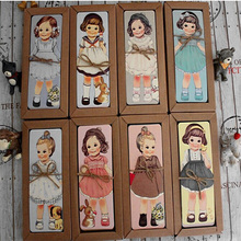 30PCS/lot  Cute Kawaii Paper Bookmark girl doll mate series Bookmark set book holder / message card with Kraft package