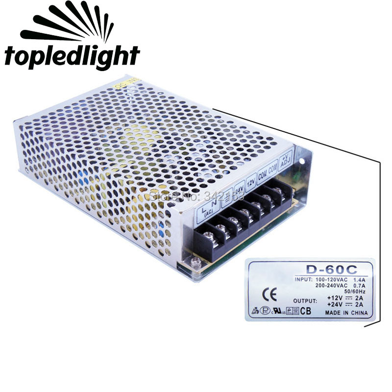 Constant Voltage Portable Lighting Accessories CH1 12V CH2 24V Dual Output Switching Power Supply D-60C For Led Strip Light<br>