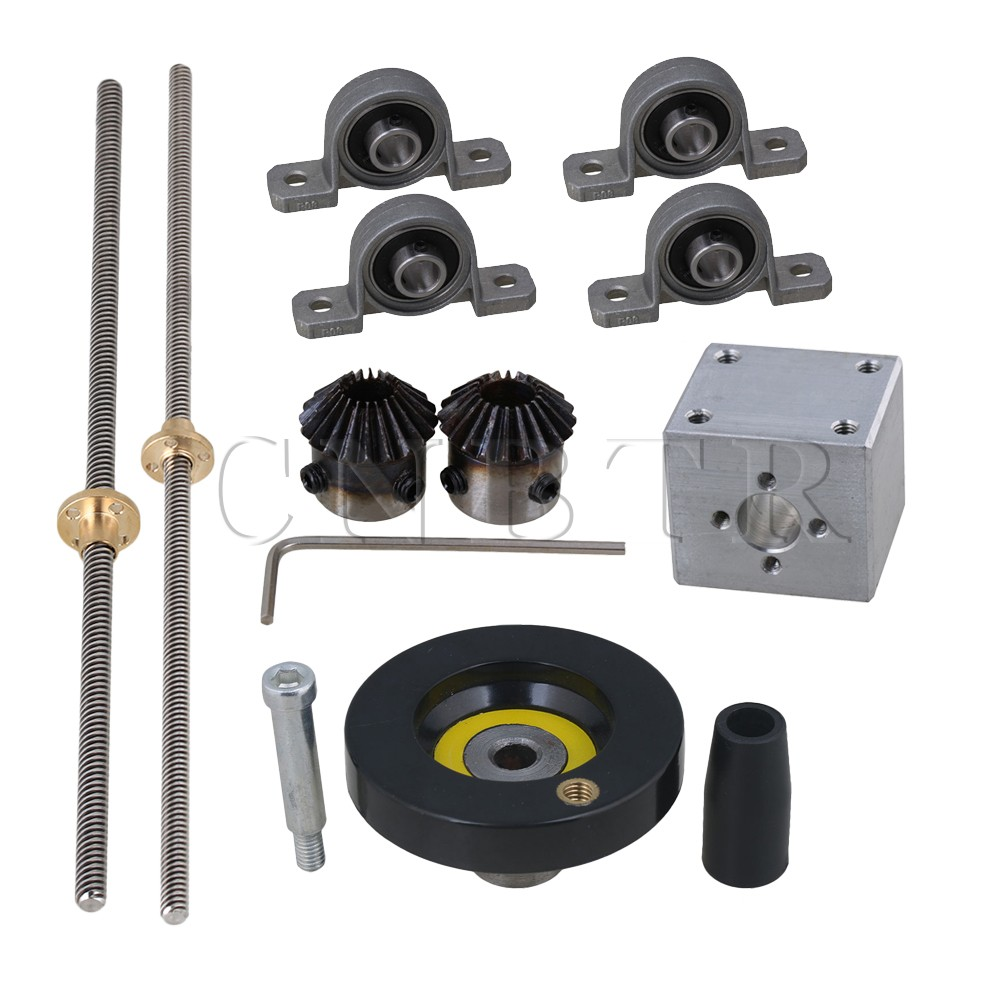 CNBTR 8mm Stainless Steel Lead Screw + Ball Bearing Pillow Block + T8 Ballscrew Nut Bracket + Handwheel + Tapered Gear Wheel <br>