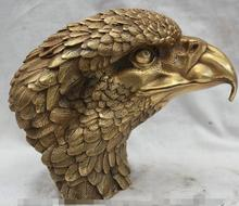"8"" China Chinese Folk Fengshui Brass eagle king of birds Hawk Head Bust Statue"