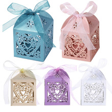 10pcs Love Heart Laser Cut Gift Candy Boxes Wedding Party Favor With Ribbon