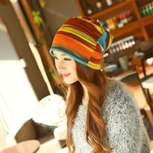 New Arrival Women's Fashion Turban Autumn Winter Warm Headdress Caps Hat Colorful Striped Scarf Work Out Beanies Accessories