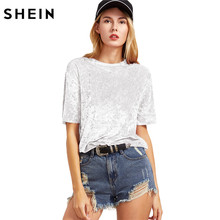 SHEIN Women Casual T-shirts Summer 2017 Ladies Tops White Short Sleeve Crushed Velvet T-shirt Round Neck Woman T shirt Top(China)
