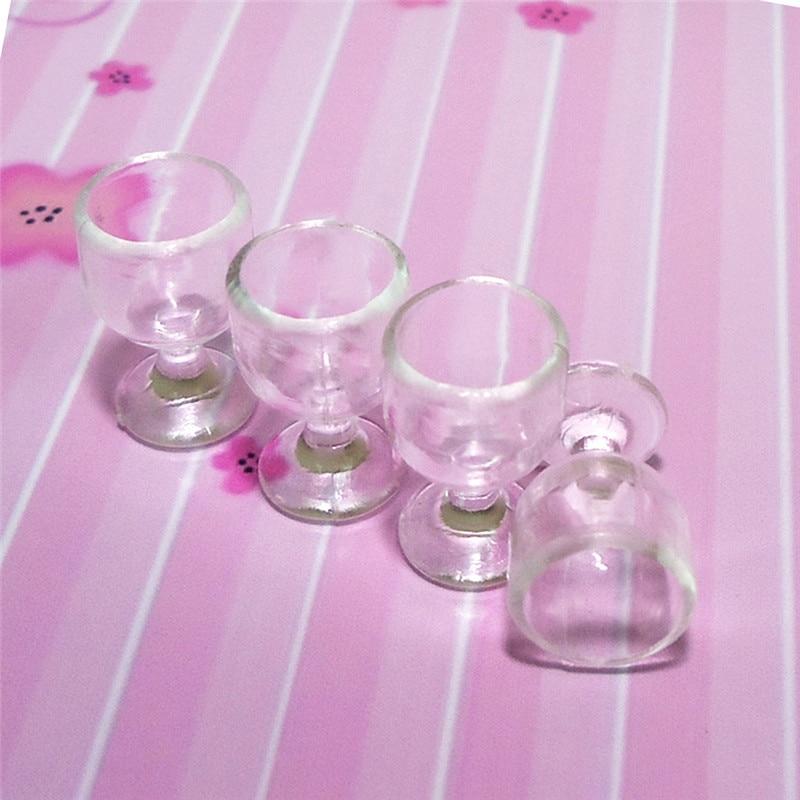 1:12 Scale Plastic 4Pcs Transparent Goblet Miniature Mini Wine Cup Dollhouse Craft Home Decoration Glass Model Plastic DIY Parts 5