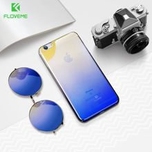 FLOVEME Gradient Case for iPhone 6 6S 7 Ultra thin PC Blue Ray Plating Clear Cover Luxury Case for iPhone 6 6S Plus 7 Plus Coque