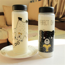 1PCS Portable Plastic Transparent Bear Printing Water Bottles Large Capacity Beverage Tea Juice bottle 500ml(China)