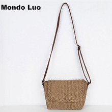 Women Straw Beach Shoulder Bag Hand Woven Weave Knitted Bag(China)