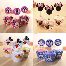 Mickey Minnie Series Pink Blue Red Wrapper Topper Picker for kids birthday wedding Chirstmas party cakecup decoration
