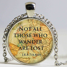 Brand Not All Those Who Wander Are Lost J.R.R.Tolkien Glass Dome Pendant Vintage Art Picture Necklace Best Gift