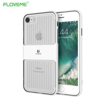 FLOVEME D'origine Marque De Luxe En Métal Brossé Pare-chocs + Crystal Clear Silicone Retour Cas Pour iPhone 7 iPhone7 Plus iPhone 6 6 s