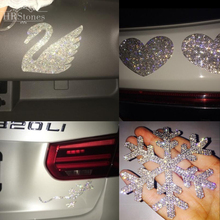Car Swan Crystal Full Strass gecko security Car Stickers Snow Paste Stickers Motif Rhinestones(China)
