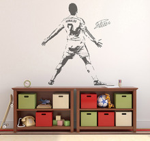 Cristiano Ronaldo Vinyl Wall Stickers Soccer Jersey NO.7 Silhouette Wall Sticker Removable Wall Decal For Teens Rooms  SA101