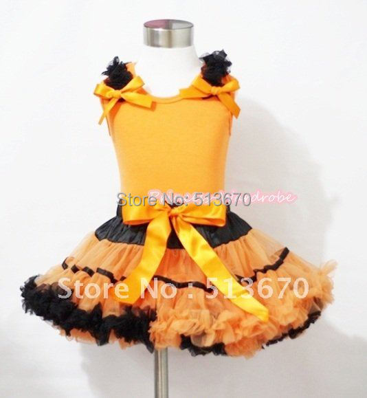Halloween Black Orange Trim Pettiskirt &amp; Ornage Tank Top with Black Ruffles and Orange Bows MAMN040<br>