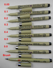 Pigma Micron Graphic design pen finliner 005 01 02 03 04 05 08 pen Brush fine point Mapping Art Markers(China)