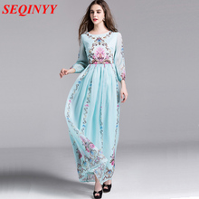 Long Dress 2017 Early Spring New Fashion Daily Women Elegant Half Lantern Sleeve Retro Flowers Printed Light Blue / Black Dress