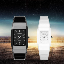 Real Ceramic wrist watches men women black white quartz square couple male female clocks waterproof casual business wristwatches
