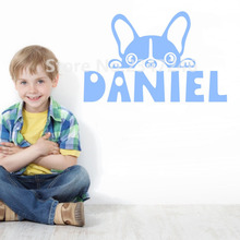 Lovely Puppy Personalized Kids Name Wall Decal Cute Dog Vinyl Mural Stickers for Boys Girls Room