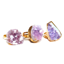 fashion natural stone ring drusy irregular Purple stone Original quartz crystals adjustable female ring for best friends gifts(China)