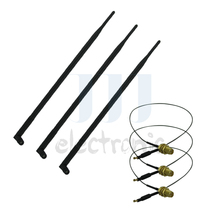 3  9dBi RP-SMA 2.4~5.8GHz WiFi Antennas + 3 U.fl for Mod Kit Linksys WRT310N WRT320N