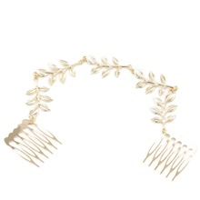 Fashion New Western Metal Chain Joker Wild Leaf Hair Comb Gold Color Drop Shipping(China)