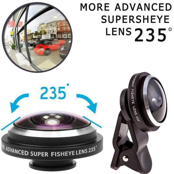 Clip 235 Degrees Super Fisheye Camera Fish Eye Universele Lens For Smartphone iPhone Samsung Xiaomi Huawei Mobile Phone Lenses