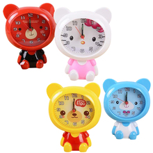 New Cartoon Despertador Home Outdoor Portable Cute Mini Bear Digital Clock Number saat Round Desk Alarm Clock Children TOY reloj(China)