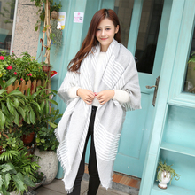 winter za women cashmere scarf soft white grey striped plaid scarves knitted pashmina basic wrap shawls female scarf(China)