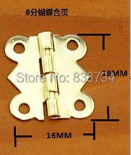 100pcs 18*16MM Steel with Brass Plated Cabinet Door Hinge 4 Holes Butterfly Golden Tone(China)