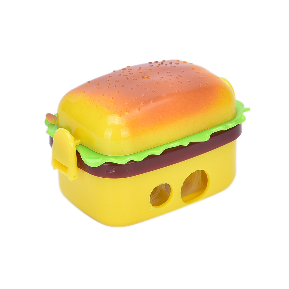 High quality mechanical 2 Hole Hamburger Shape Pencil sharpener with two rubbers/eraser Standard Pencil sharpener Stationary
