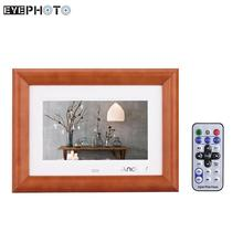 "Andoer 7"" LCD Digital Photo Frame Desktop Wood Picture Frame MP3 MP4 Movie Player E-book Calendar Clock with Remote Controller"