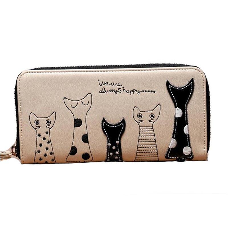 2017 New Fashion Women Wallets Cartoon Cat Leather Purses Girl Long Wallet Women Card Holder Elegant Lady Wallets Carteras Mujer<br><br>Aliexpress