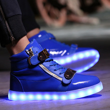 Glow bambas Luminous Basket tenis led Simulation High Top Trainer Neon Tall Shoe with Light up for Adult Male Feminino Men