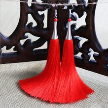 Tassel Bohemia Earrings China Style 7Colors Earrings Jewelry Vintage Silver Plated Red Beads Accesssory Earrings For Women