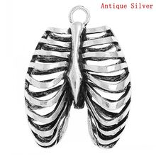 DoreenBeads Retail Charm Pendants Anatomical Human Rib Cage Antique Silver 4cm x 3cm,3PCs(China)