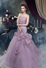2016 Mermaid Wedding Dresses Strapless Sleeveless Crystal Floral Pin Court Train purple bridal Gown Custom Size