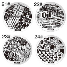 Round Stainless Steel Nail Art Stamping Template Floral Heart English Words Gear Nail Image Stamp Plate DIY Nail Tools